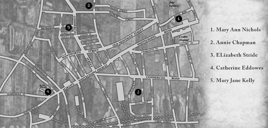 Jack Lo squartatore - Mappa e luoghi degli omicidi